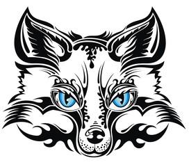 Animal vector fox. Tattoo design