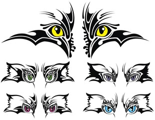 Set of animal eyes. tattoo design