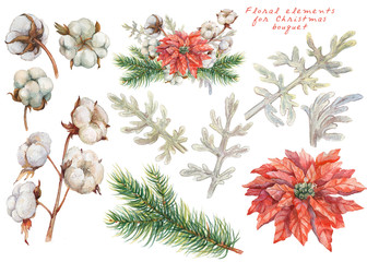 Floral elements for Christmas and new year's bouquet. Watercolor original illustration.