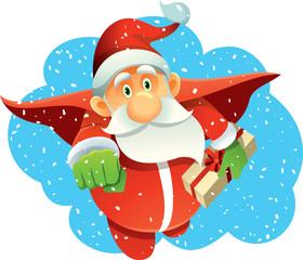 Superhero Santa Claus Bringing Presents in Winter Holiday