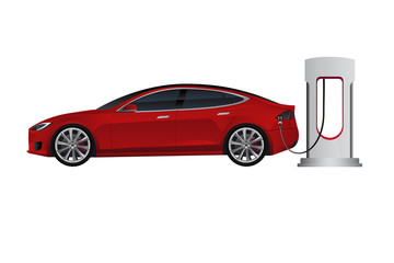 Electric car with charging station. Vector illustration EPS 10