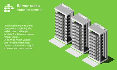 Server racks room isometric vector illustration. Datacenter icon.