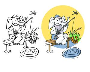 elephant fisherman on pond