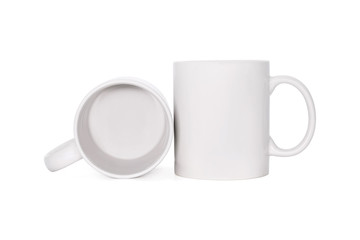 Blank coffee mug isolated on white background. Template of drink cup for your design. ( Clipping paths or cut out object for montage ) Can put text, image, and logo.