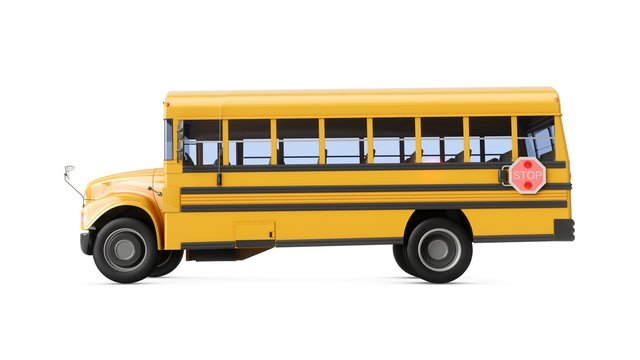3D Rendering School Bus isolated on a white background