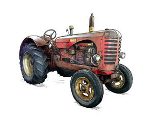 Wall Mural - Old red tractor illustration in cartoon or comic style. Tractor was made in Scotland, United Kingdom in between 1954 - 1958 or 50's.