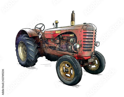 Fototapete Old red tractor illustration in cartoon or comic style. Tractor was made in Scotland, United Kingdom in between 1954 - 1958 or 50's.