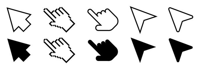 Set of Cursor icons in line and flat modern design