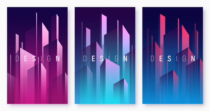 Vector gradient geometric abstract backgrounds, colorful minimal