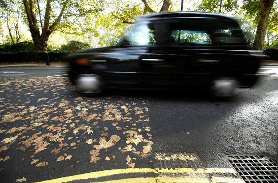 A traditional London taxi drives along a road, where the fallen autumn leaves have made a pattern, in central London
