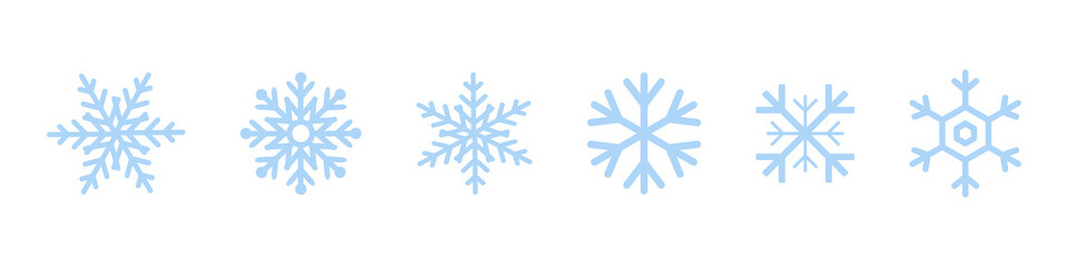 Set of blue Snowflakes icons. Black snowflake. Snowflakes template. Snowflake winter. Snowflakes icons. Snowflake vector icon Wall mural