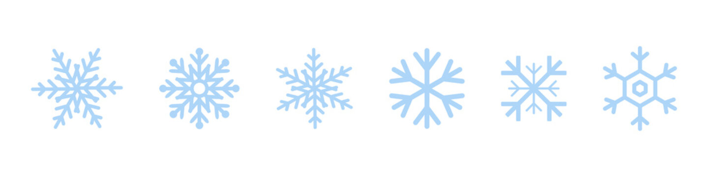 Set of blue Snowflakes icons. Black snowflake. Snowflakes template. Snowflake winter. Snowflakes icons. Snowflake vector icon