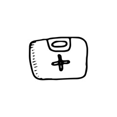 first aid kit icon. sketch isolated object