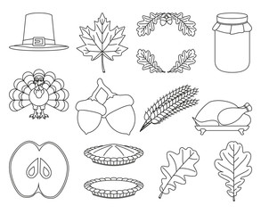 13 black and white line art thanksgiving elements