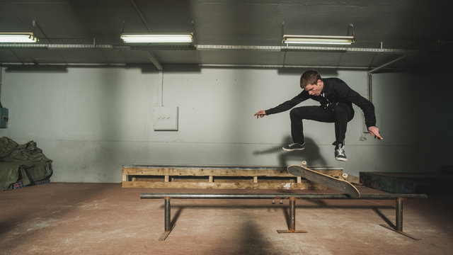 Young Man Skateing Indoors