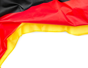 German flag on white background. Space for text.