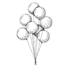 Group of balloons on a string. Hand drawn, isolated on a white b