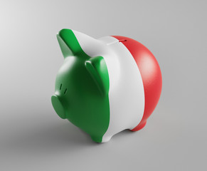 Piggy bank with Italy flag