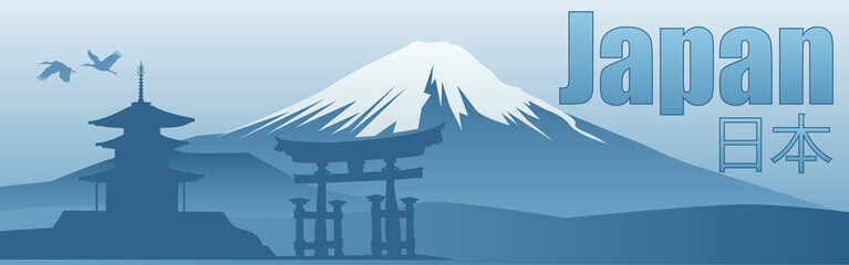 banner with the image of the sights of Japan