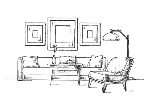 Sketch of the interior. Sofa, armchair, coffee table and other interior elements. Vector