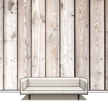 Sketch drawing of modern sofa in wooden room