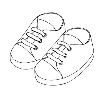 Sketch of sneakers for a baby. A pair of shoes isolated on a white background. Vector illustration