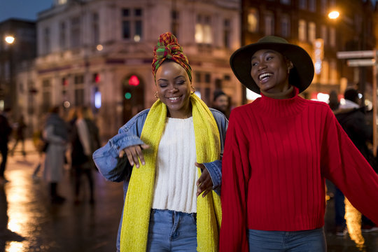 Stylish women during nightlife in the city
