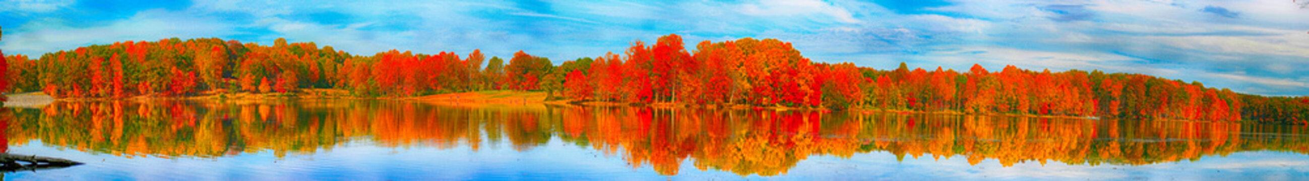 Fall Colours Panorama, Seneca Lake, Germantown, Maryland