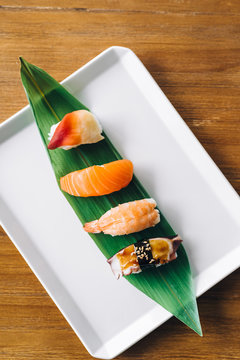 Sushi set on a plate