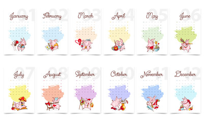 New Year 2019. Calendar cover. Creative calendar with cute pigs. Concept, vector vertical editable template. Symbol of the year in the Chinese calendar. Cartoon. Isolated. Vector illustration.