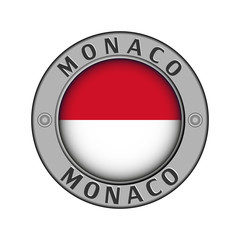 Medallion with the name of Monaco and a round flag