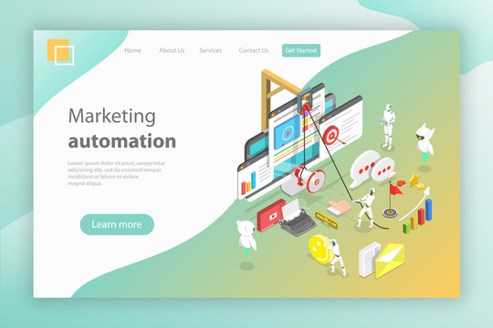 Isometric flat vector landing page header for digital marketing automation, social media strategy, ai, chatbot.