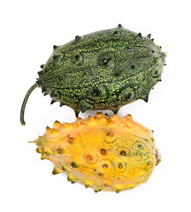horned melon isolated on white background, top view