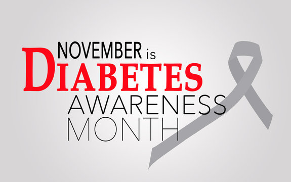 November is diabetes awareness month, background with ribbon
