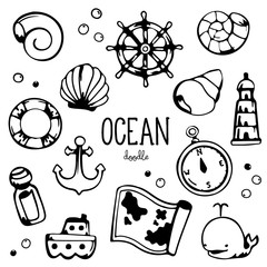 Ocean items doodle. Hand drawing styles for sea item.