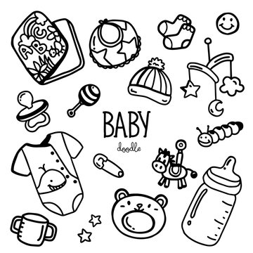 Baby items doodle. Hand drawing styles for baby item.
