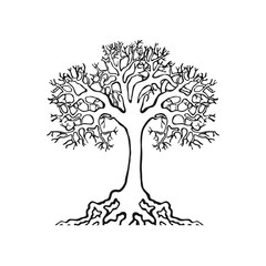 tree natural symbol on white background realistic and handmade stroke small roots