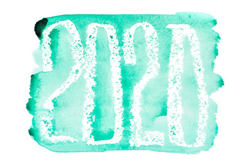 New year 2020 - Green watercolor