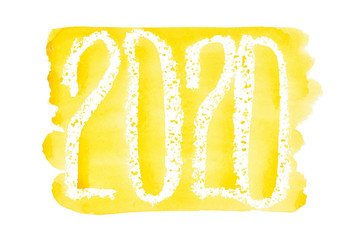 New year 2020 - Yellow watercolor lettering