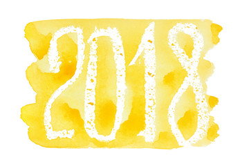 2018 - Yellow watercolor lettering