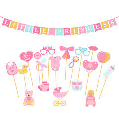 Baby shower photo props, booth on sticks. Vector. Birth reveal party for baby girl. Pink speech bubble, flags for newborn, parents Photobooth set bib, bodysuit, bottle, nipple, stroller, rattle, duck