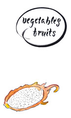 Half of fresh raw dragon fruit, watercolor hand drawn illustration