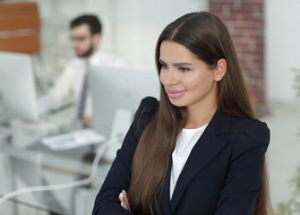 closeup of confident business woman