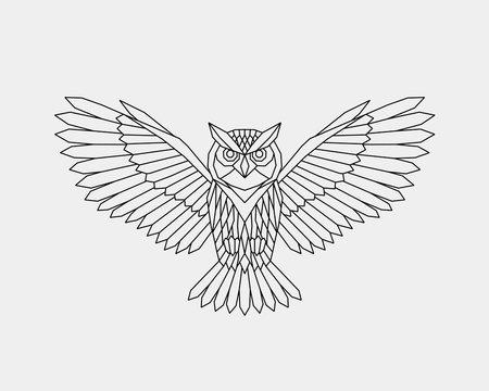 Geometric owl. Polygonal linear abstract bird. Vector illustration