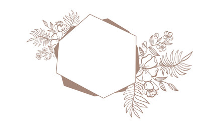Geometry brown wedding invitation frame for card with flowers and leaves. vector illustration with place for your text