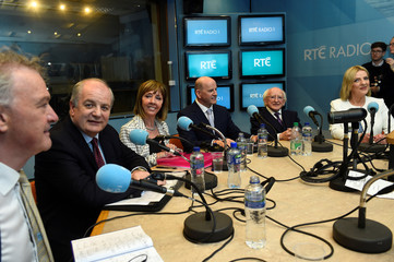 Ireland's presidential candidates (L to R) Peter Casey, Gavin Duffy, Joan Freeman, Sean Gallagher, President Michael D. Higgins and Liadh Ni Riada are seen in the studio for a debate on RTÉ Radio 1 in Dublin