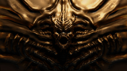 Bronze bas-relief monster with horns. 3d illustration