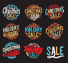 Christmas sale chalkboard background with holiday decorations.