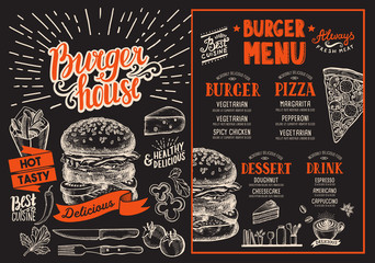 Burger restaurant menu. Vector food flyer for bar and cafe. Design template with retro hand-drawn illustrations.
