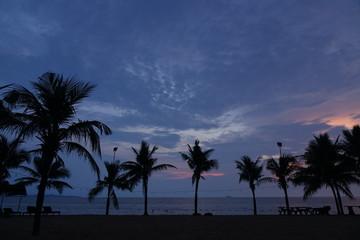 Sunset at pattaya beach thailand